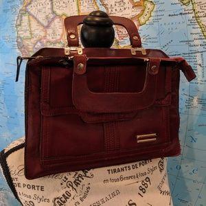 Vintage Burgundy Leather handbag made in Korea